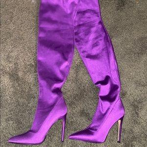 "steve madden ""slamming"" purple thigh high boots"